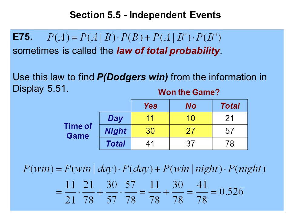Section 5.5 - Independent Events E75. sometimes is called the law of total probability. Use this law to find P(Dodgers win) from the information in Di