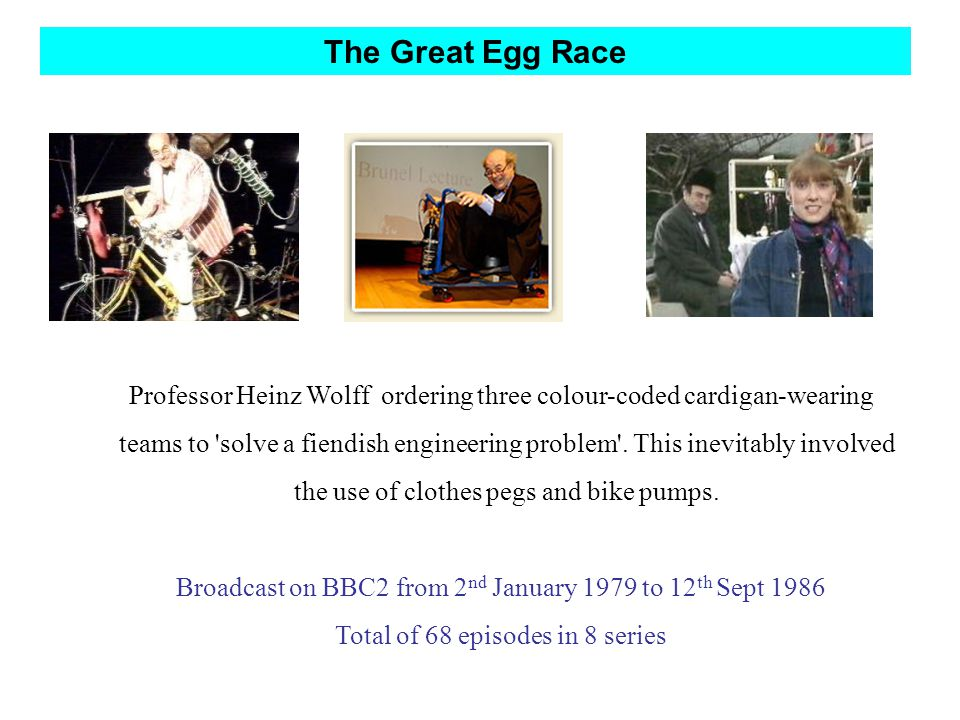 The Great Egg Race Professor Heinz Wolff ordering three colour-coded cardigan-wearing teams to solve a fiendish engineering problem .