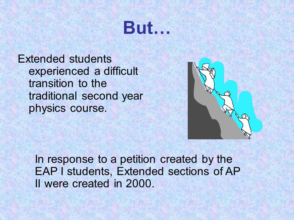 But… Extended students experienced a difficult transition to the traditional second year physics course.