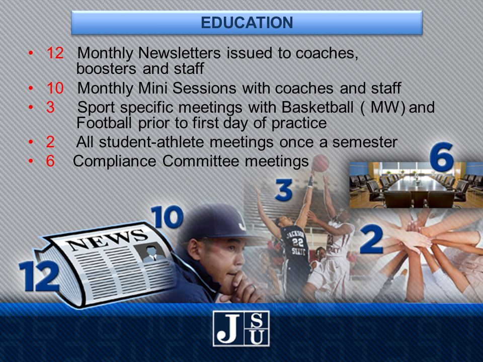 EDUCATION 12 Monthly Newsletters issued to coaches, boosters and staff 10 Monthly Mini Sessions with coaches and staff 3 Sport specific meetings with Basketball ( MW) and Football prior to first day of practice 2 All student-athlete meetings once a semester 6 Compliance Committee meetings