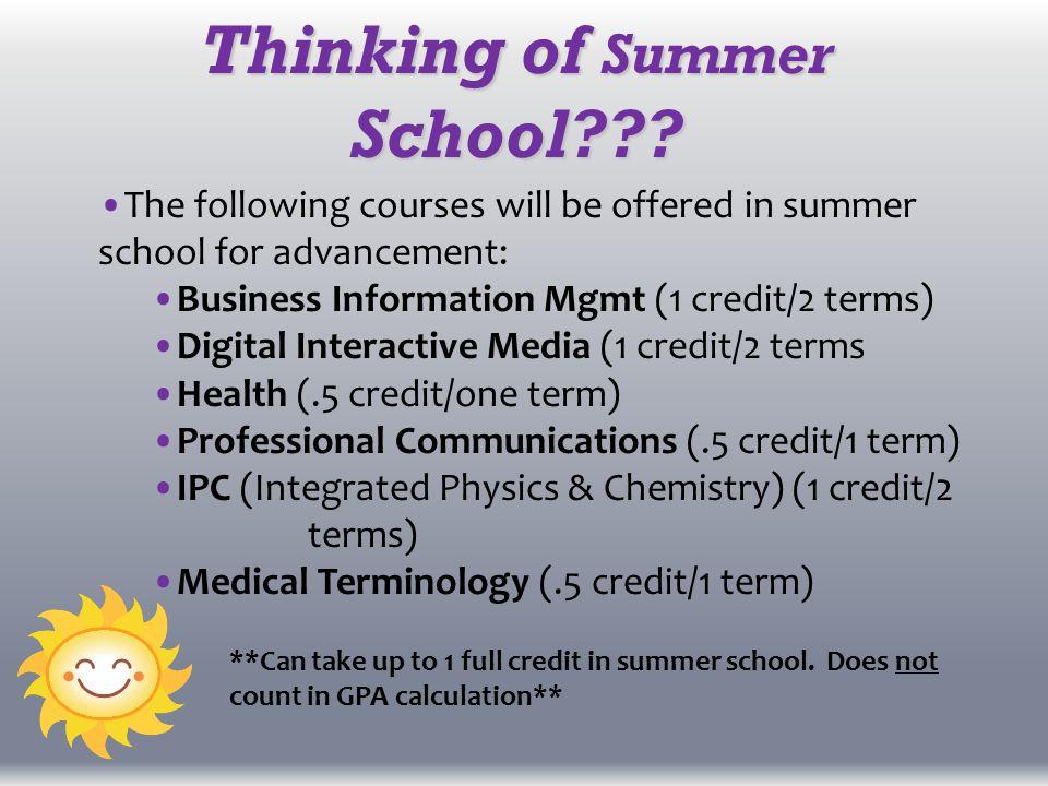 Thinking of Summer School .