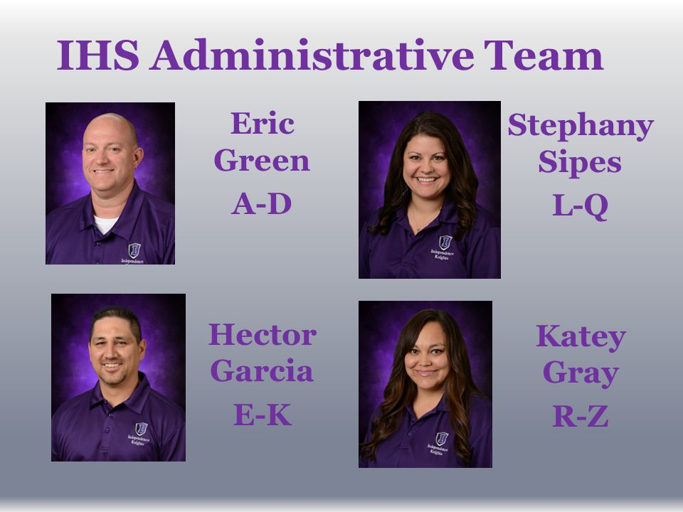 IHS Administrative Team Eric Green A-D Hector Garcia E-K Stephany Sipes L-Q Katey Gray R-Z