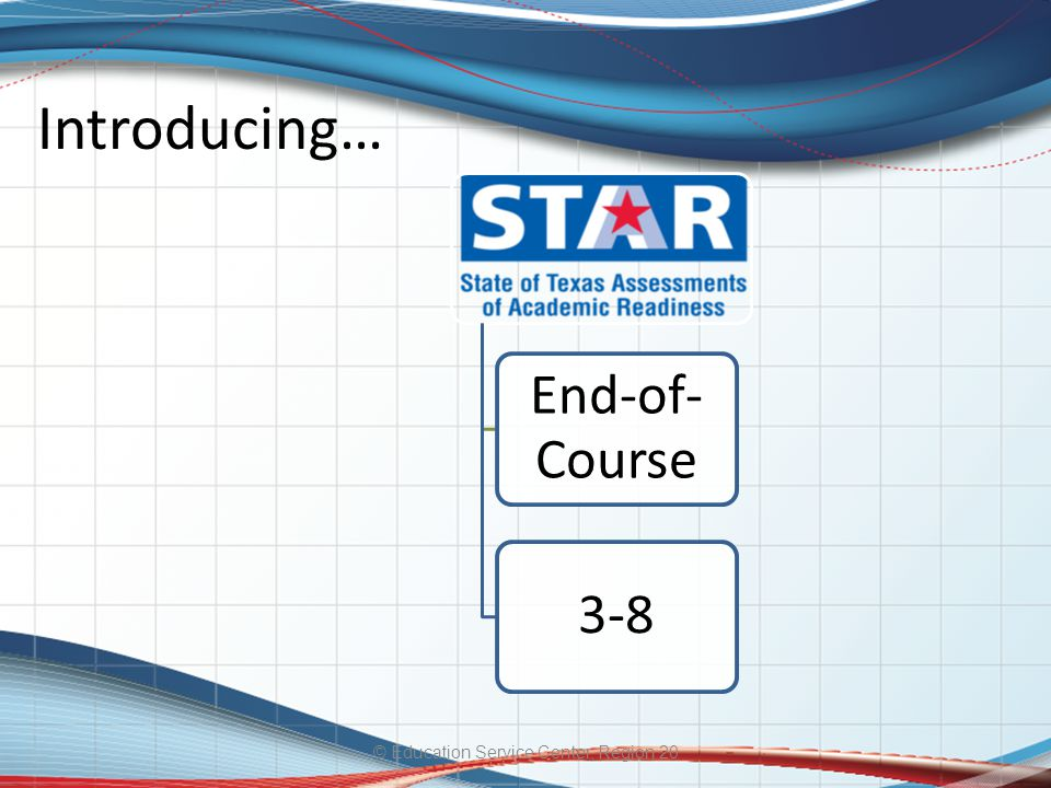 Introducing… © Education Service Center, Region 20 End-of- Course 3-8