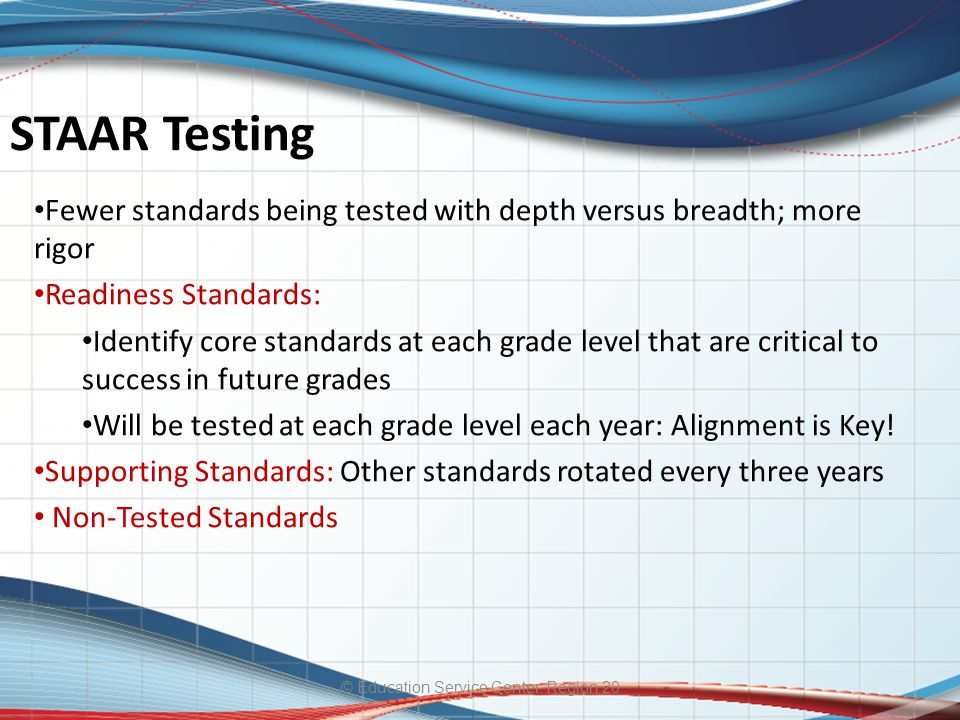 STAAR Testing © Education Service Center, Region 20 Fewer standards being tested with depth versus breadth; more rigor Readiness Standards: Identify core standards at each grade level that are critical to success in future grades Will be tested at each grade level each year: Alignment is Key.