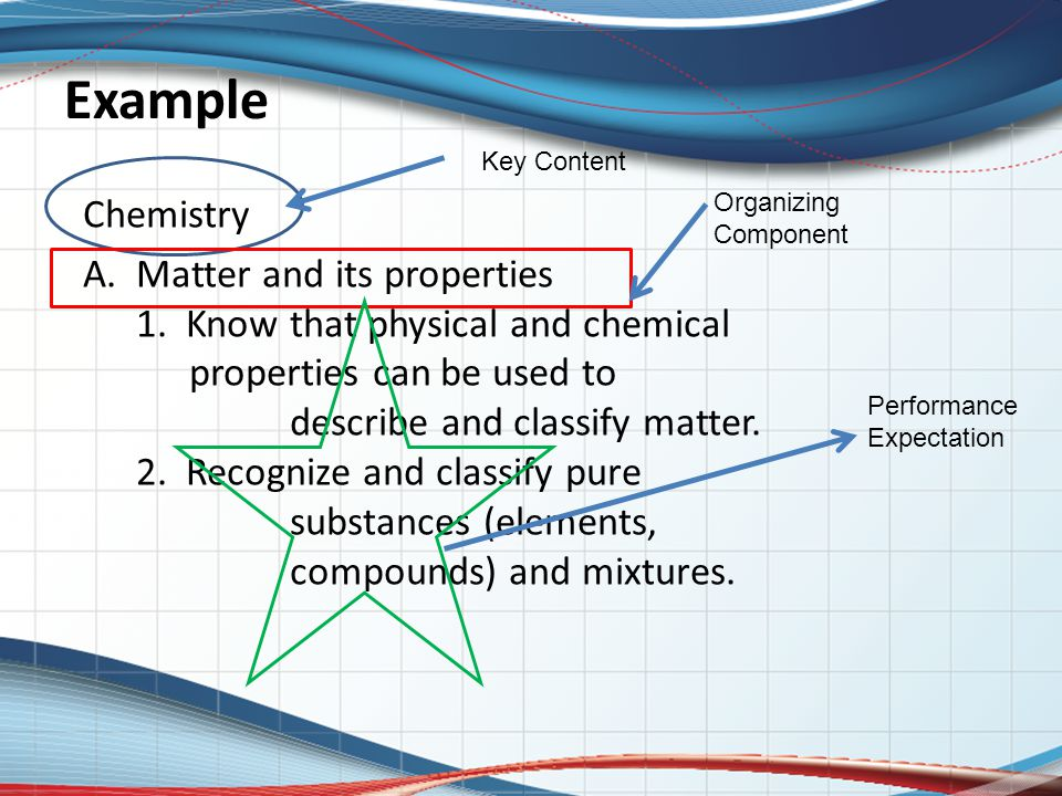 Example Chemistry A. Matter and its properties 1. Know that physical and chemical properties can be used to describe and classify matter. 2. Recognize