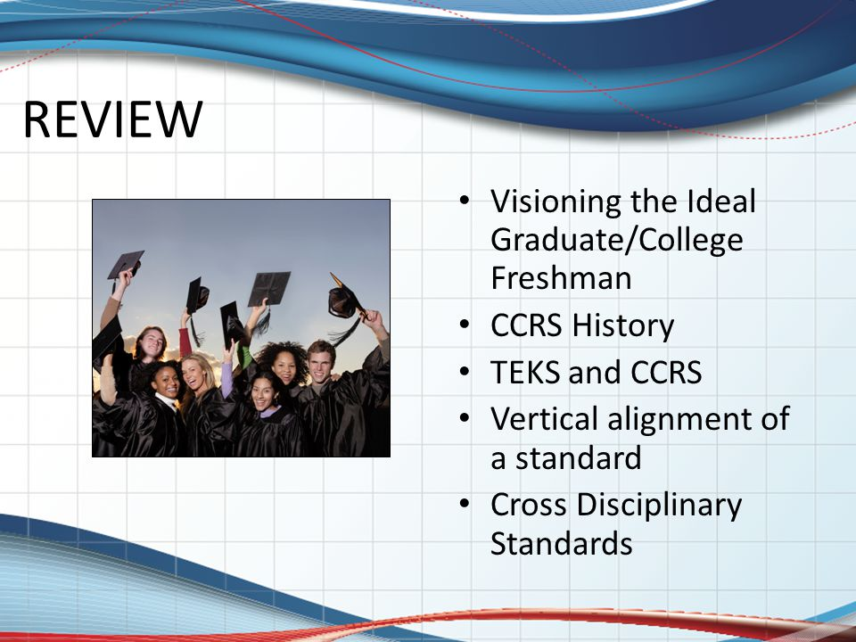 REVIEW Visioning the Ideal Graduate/College Freshman CCRS History TEKS and CCRS Vertical alignment of a standard Cross Disciplinary Standards