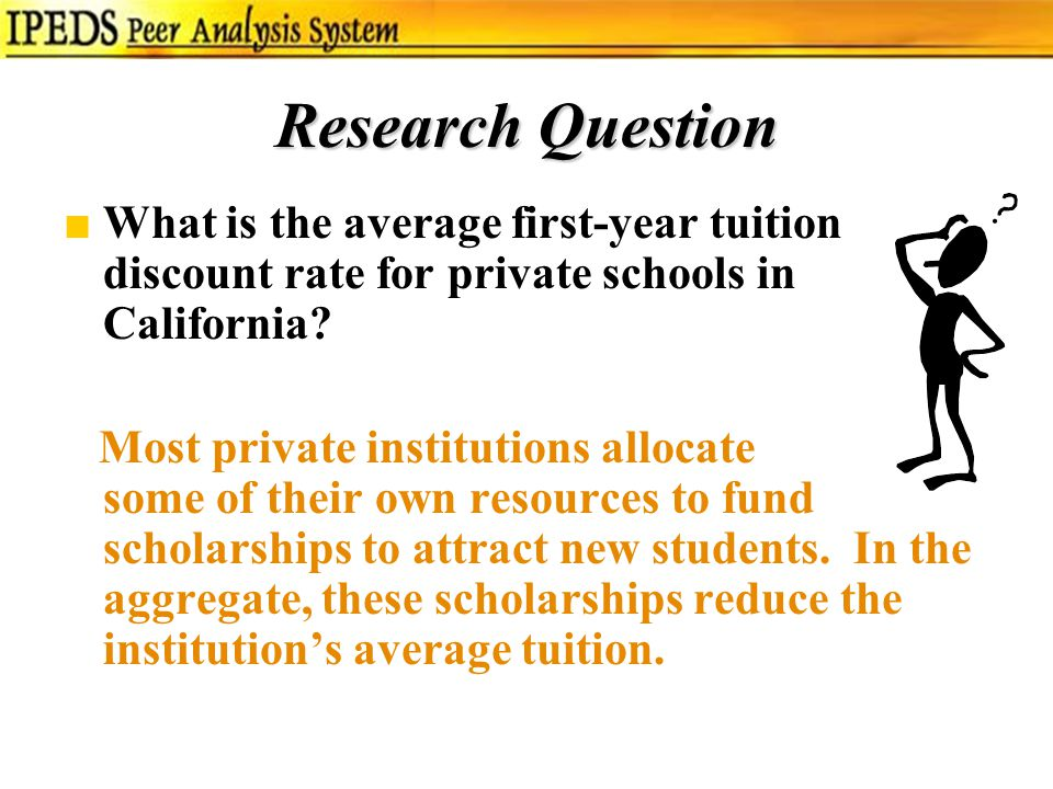 Research Question ■What is the average first-year tuition discount rate for private schools in California.