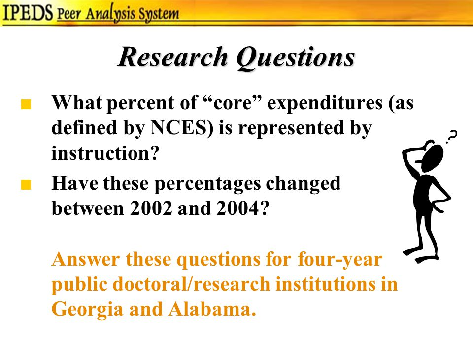 Research Questions ■What percent of core expenditures (as defined by NCES) is represented by instruction.