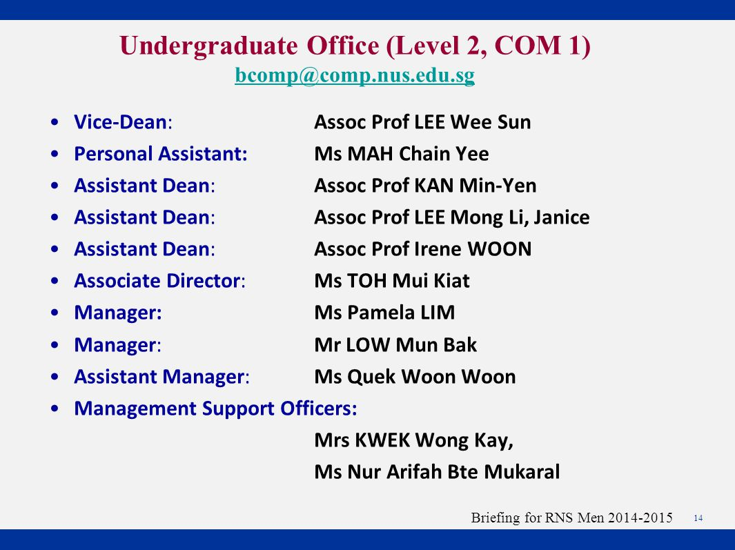 Vice-Dean: Assoc Prof LEE Wee Sun Personal Assistant:Ms MAH Chain Yee Assistant Dean: Assoc Prof KAN Min-Yen Assistant Dean: Assoc Prof LEE Mong Li, Janice Assistant Dean: Assoc Prof Irene WOON Associate Director:Ms TOH Mui Kiat Manager:Ms Pamela LIM Manager:Mr LOW Mun Bak Assistant Manager:Ms Quek Woon Woon Management Support Officers: Mrs KWEK Wong Kay, Ms Nur Arifah Bte Mukaral 14 Briefing for RNS Men 2014-2015 Undergraduate Office (Level 2, COM 1) bcomp@comp.nus.edu.sg bcomp@comp.nus.edu.sg