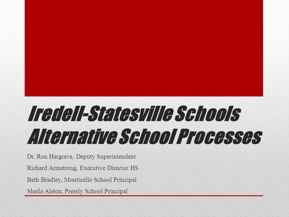 Iredell-Statesville Schools Alternative School Processes Dr. Ron Hargrave, Deputy Superintendent Richard Armstrong, Executive Director HS Beth Bradley