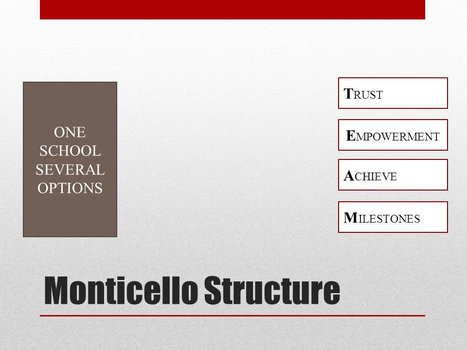 Monticello Structure 15 Day OSS FA SAVE Long Term Drop In ONE SCHOOL SEVERAL OPTIONS M ILESTONES A CHIEVE E MPOWERMENT T RUST