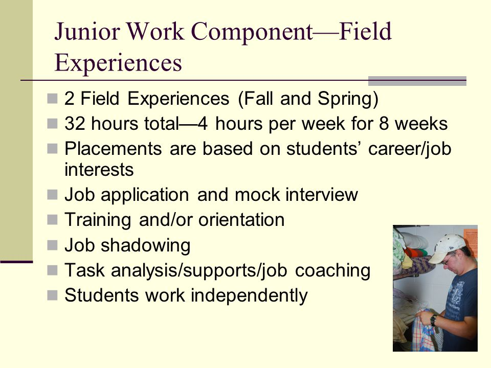 Junior Work Component—Field Experiences 2 Field Experiences (Fall and Spring) 32 hours total—4 hours per week for 8 weeks Placements are based on stud