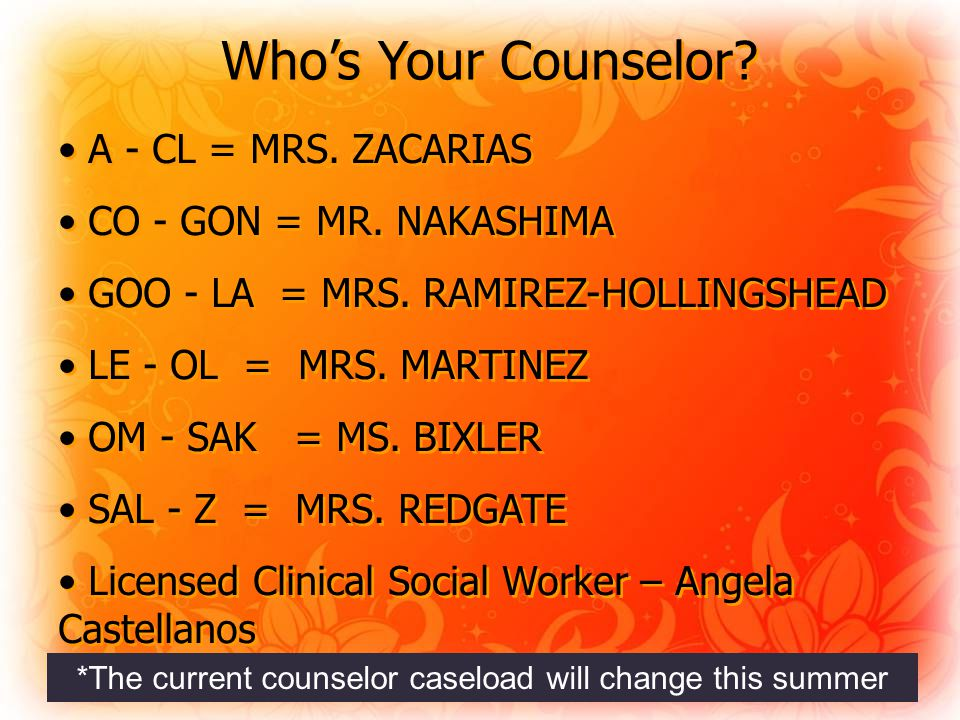 Who's Your Counselor. A - CL = MRS. ZACARIAS CO - GON = MR.