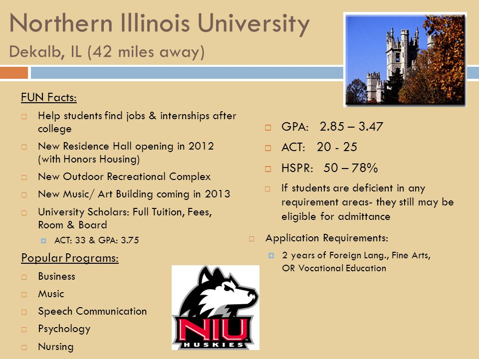 Northern Illinois University Dekalb, IL (42 miles away) FUN Facts:  Help students find jobs & internships after college  New Residence Hall opening in 2012 (with Honors Housing)  New Outdoor Recreational Complex  New Music/ Art Building coming in 2013  University Scholars: Full Tuition, Fees, Room & Board  ACT: 33 & GPA: 3.75 Popular Programs:  Business  Music  Speech Communication  Psychology  Nursing  GPA: 2.85 – 3.47  ACT: 20 - 25  HSPR: 50 – 78%  If students are deficient in any requirement areas- they still may be eligible for admittance  Application Requirements:  2 years of Foreign Lang., Fine Arts, OR Vocational Education
