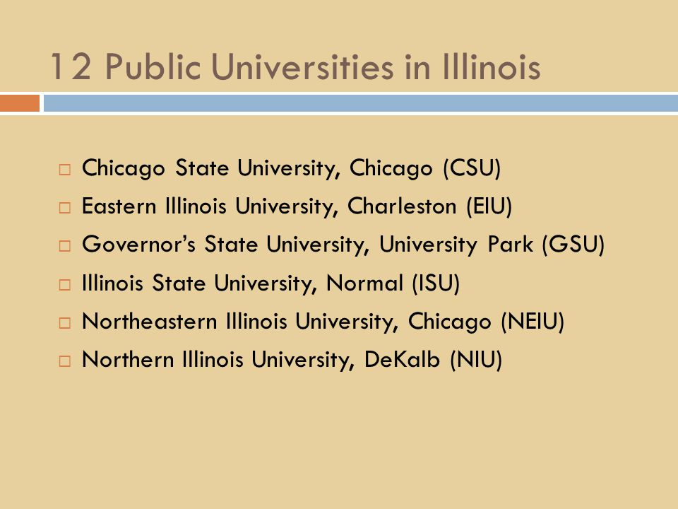 12 Public Universities in Illinois  Chicago State University, Chicago (CSU)  Eastern Illinois University, Charleston (EIU)  Governor's State University, University Park (GSU)  Illinois State University, Normal (ISU)  Northeastern Illinois University, Chicago (NEIU)  Northern Illinois University, DeKalb (NIU)