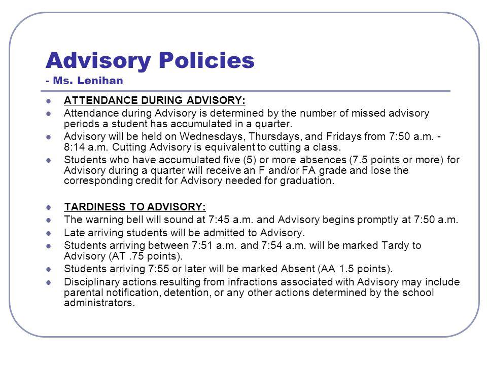 Advisory Policies - Ms.