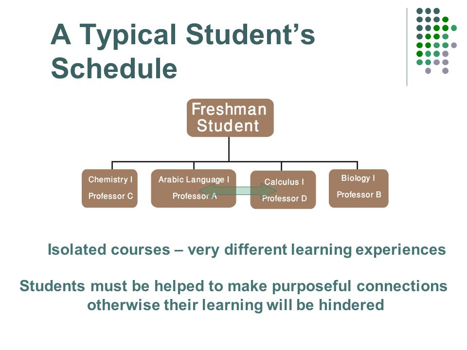 A Typical Student's Schedule Isolated courses – very different learning experiences Students must be helped to make purposeful connections otherwise their learning will be hindered