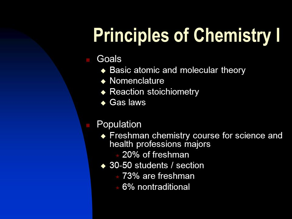 Principles of Chemistry I Goals  Basic atomic and molecular theory  Nomenclature  Reaction stoichiometry  Gas laws Population  Freshman chemistry course for science and health professions majors  20% of freshman  30-50 students / section  73% are freshman  6% nontraditional