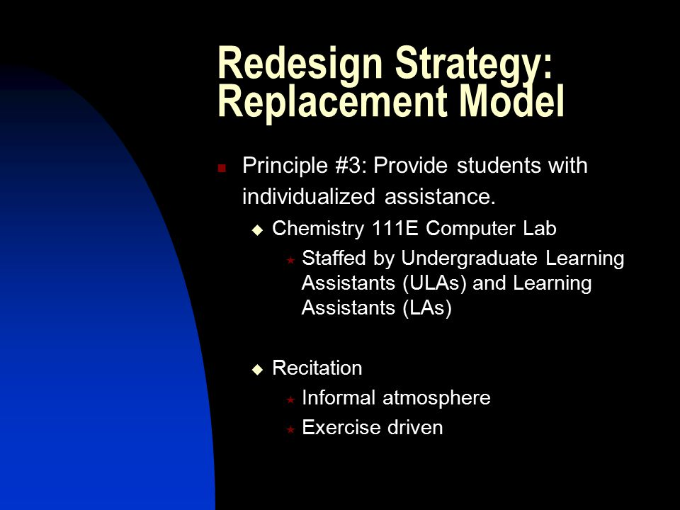 Redesign Strategy: Replacement Model Principle #3: Provide students with individualized assistance.