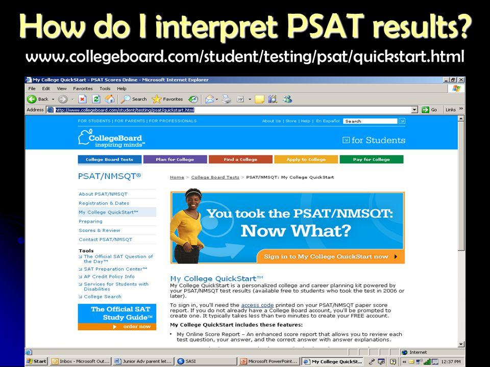 How do I interpret PSAT results. How do I interpret PSAT results.