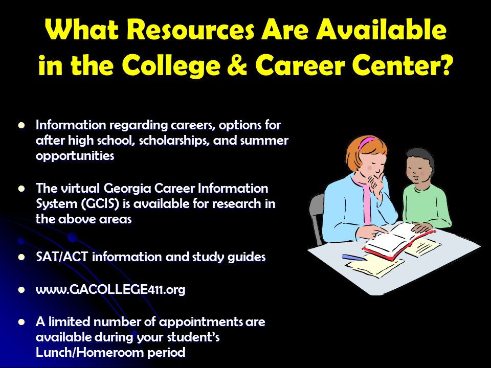 What Resources Are Available in the College & Career Center? Information regarding careers, options for after high school, scholarships, and summer op