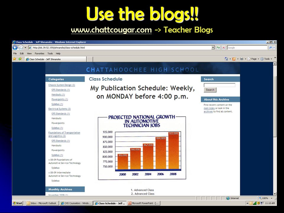 Use the blogs!! Use the blogs!! www.chattcougar.com -> Teacher Blogs www.chattcougar.com