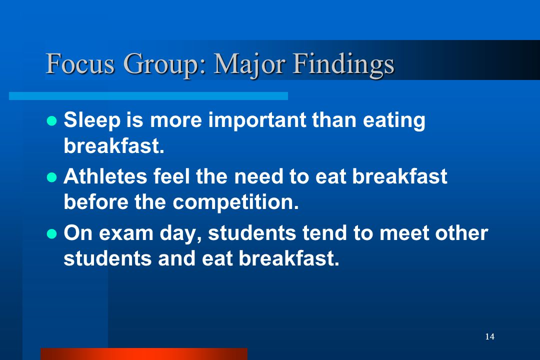 14 Focus Group: Major Findings Sleep is more important than eating breakfast.