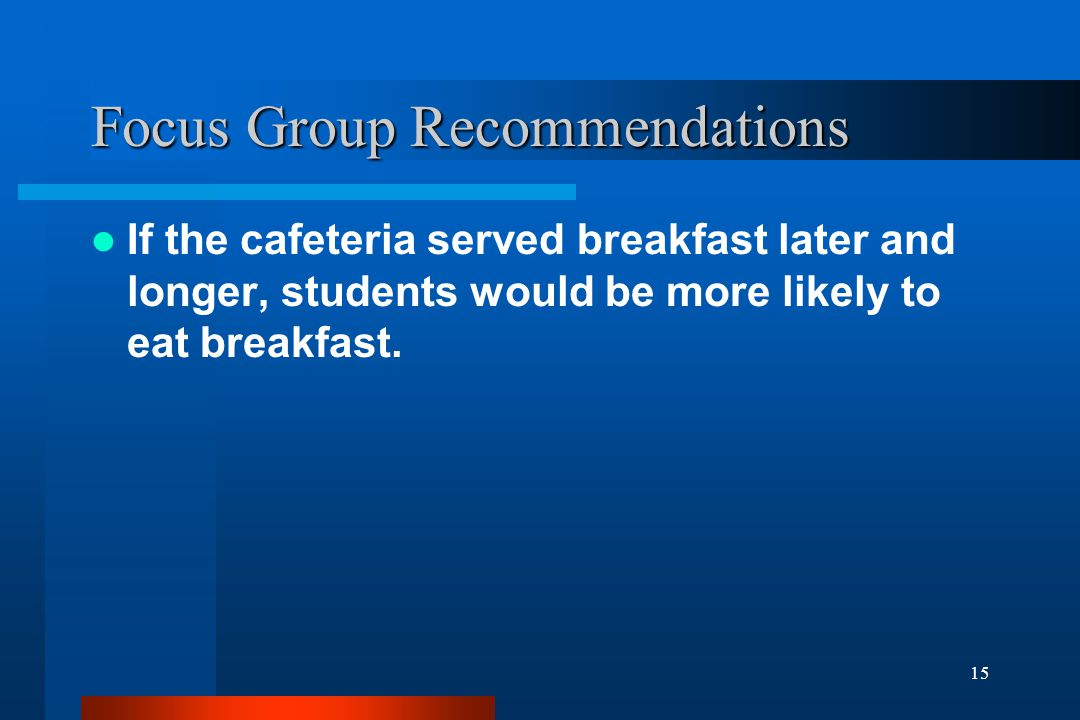 15 Focus Group Recommendations If the cafeteria served breakfast later and longer, students would be more likely to eat breakfast.