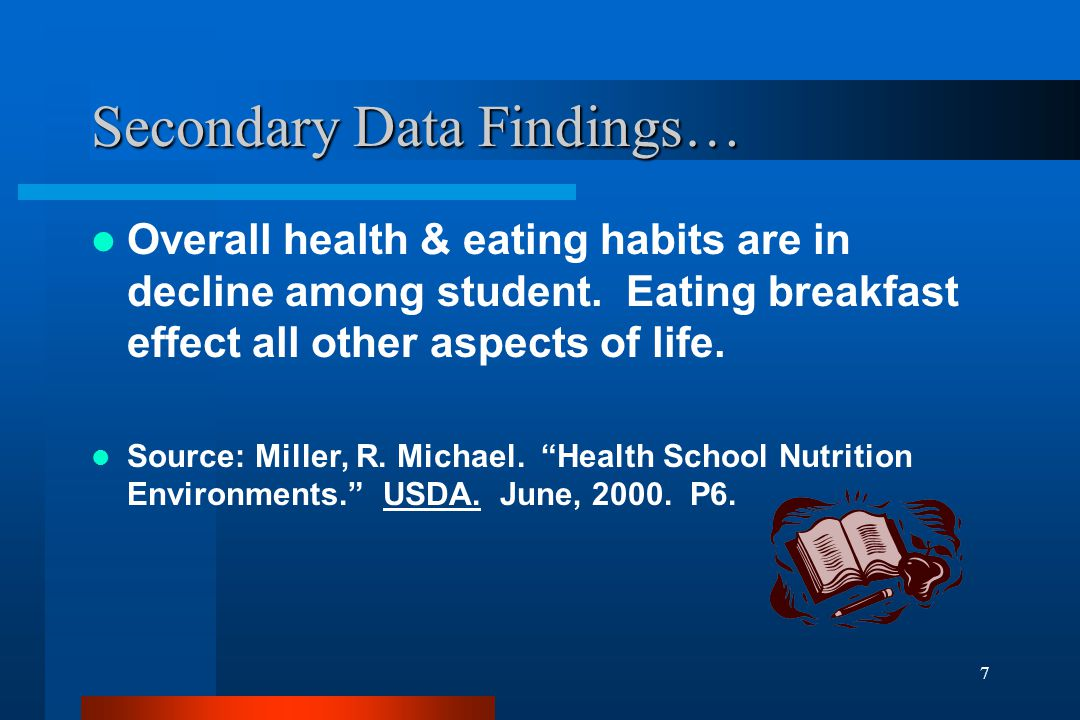 7 Secondary Data Findings… Overall health & eating habits are in decline among student. Eating breakfast effect all other aspects of life. Source: Mil