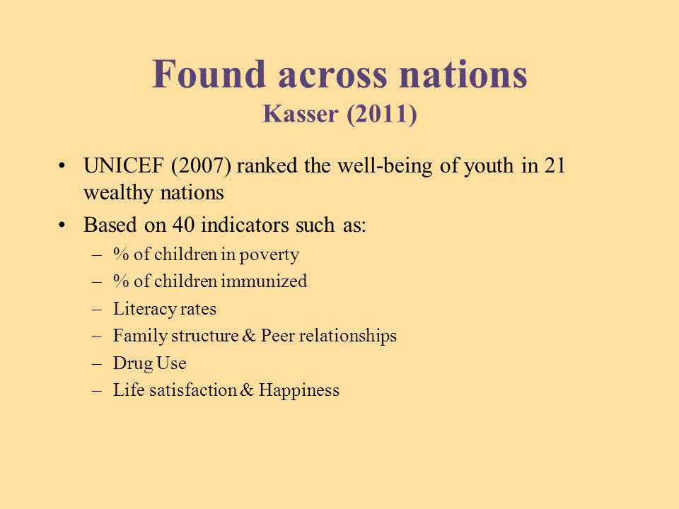 Found across nations Kasser (2011) UNICEF (2007) ranked the well-being of youth in 21 wealthy nations Based on 40 indicators such as: –% of children in poverty –% of children immunized –Literacy rates –Family structure & Peer relationships –Drug Use –Life satisfaction & Happiness