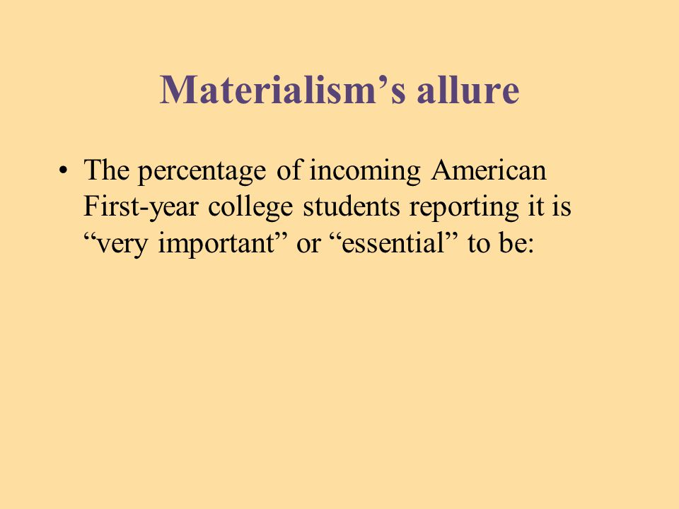 Materialism's allure The percentage of incoming American First-year college students reporting it is very important or essential to be: