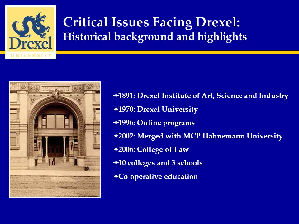 Critical Issues Facing Drexel: Three Critical Issues 1.Staff training and Professional Development 2.Student Recruitment 3.Student Retention