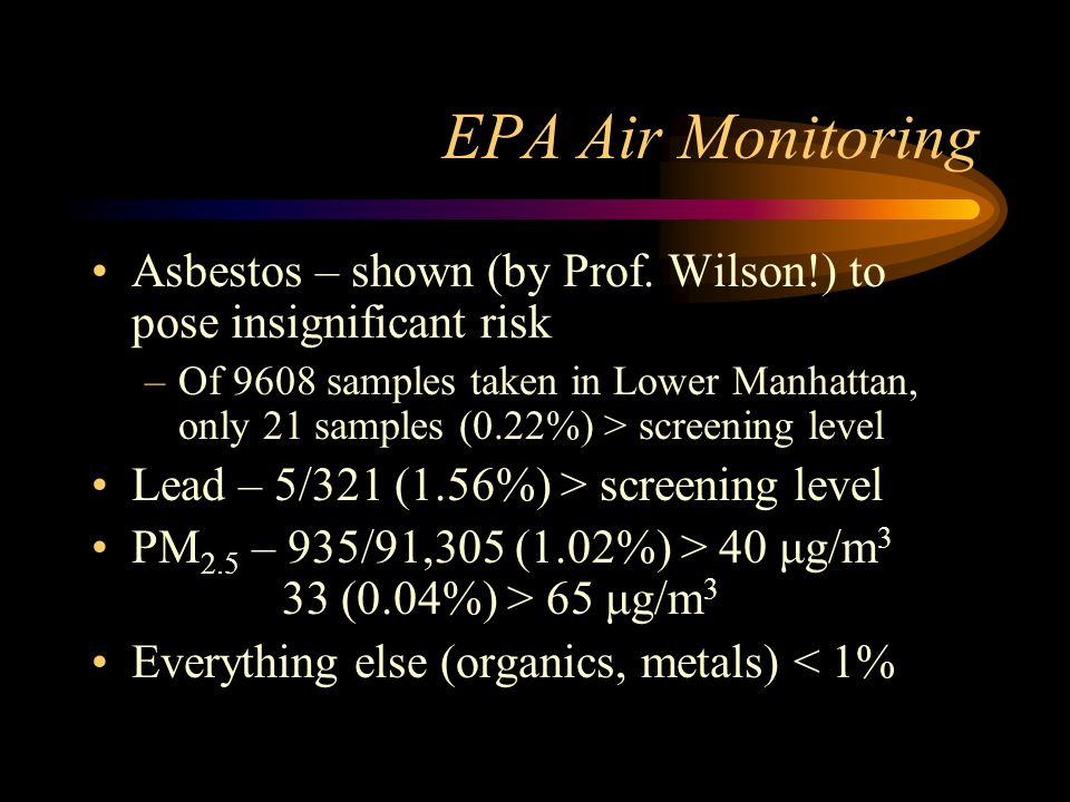 EPA Air Monitoring Asbestos – shown (by Prof. Wilson!) to pose insignificant risk –Of 9608 samples taken in Lower Manhattan, only 21 samples (0.22%) >