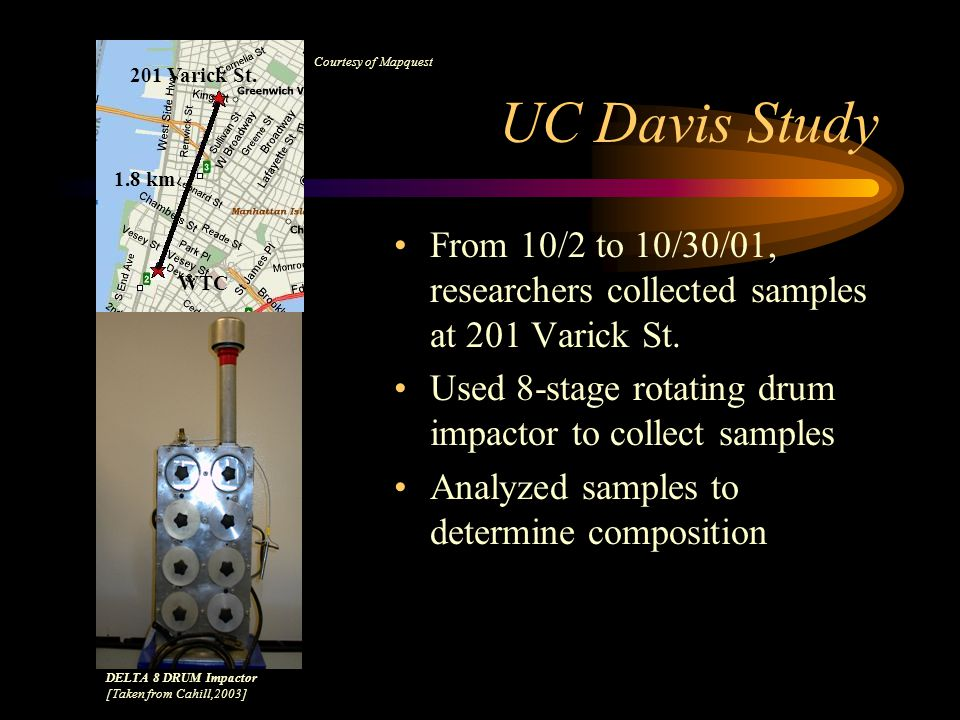 WTC Findings Two studies: –UC Davis DELTA Composition analysis –EPA Air monitoring Animal toxicology experiments (mice)