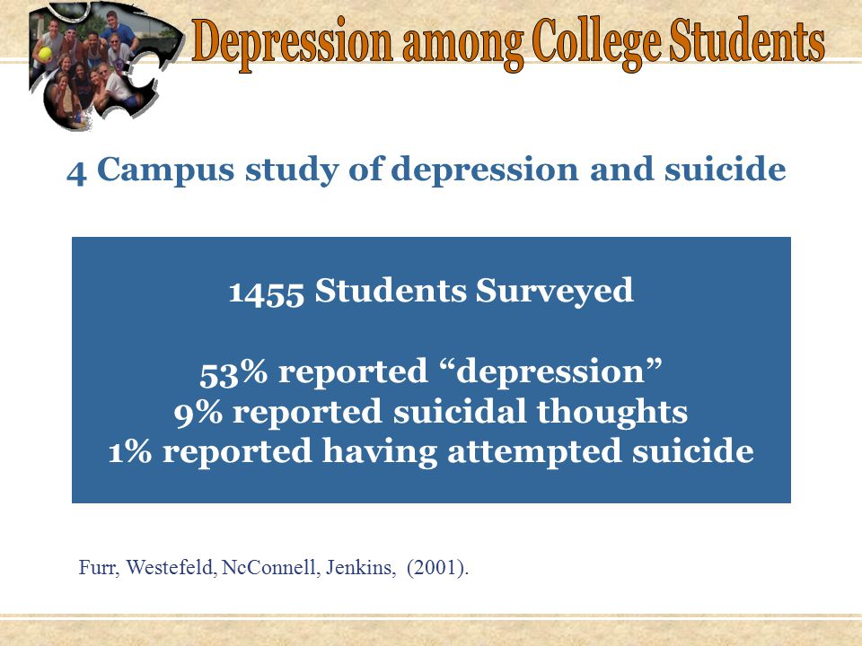 Percent of students who said they were likely to consult with a mental health professional for each problem: 96%Serious mental illness 90%Suicidal feelings 77%Alcohol/drug dependency 75%Coping with serious illness 71%Eating disorders 62%Depression or anxiety 57%Divorce or marital problems 49%Death in the family 33%Problems at school 31%Stress Survey of 346 students at a large western university (sample skewed toward freshman).