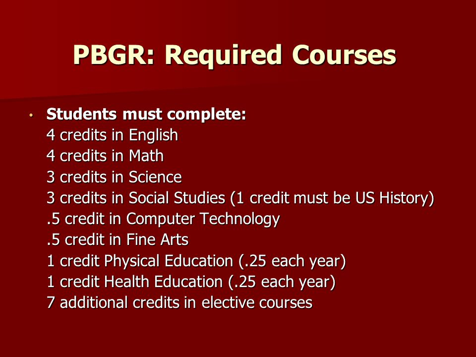 PBGR: Required Courses Students must complete: Students must complete: 4 credits in English 4 credits in Math 3 credits in Science 3 credits in Social Studies (1 credit must be US History).5 credit in Computer Technology.5 credit in Fine Arts 1 credit Physical Education (.25 each year) 1 credit Health Education (.25 each year) 7 additional credits in elective courses