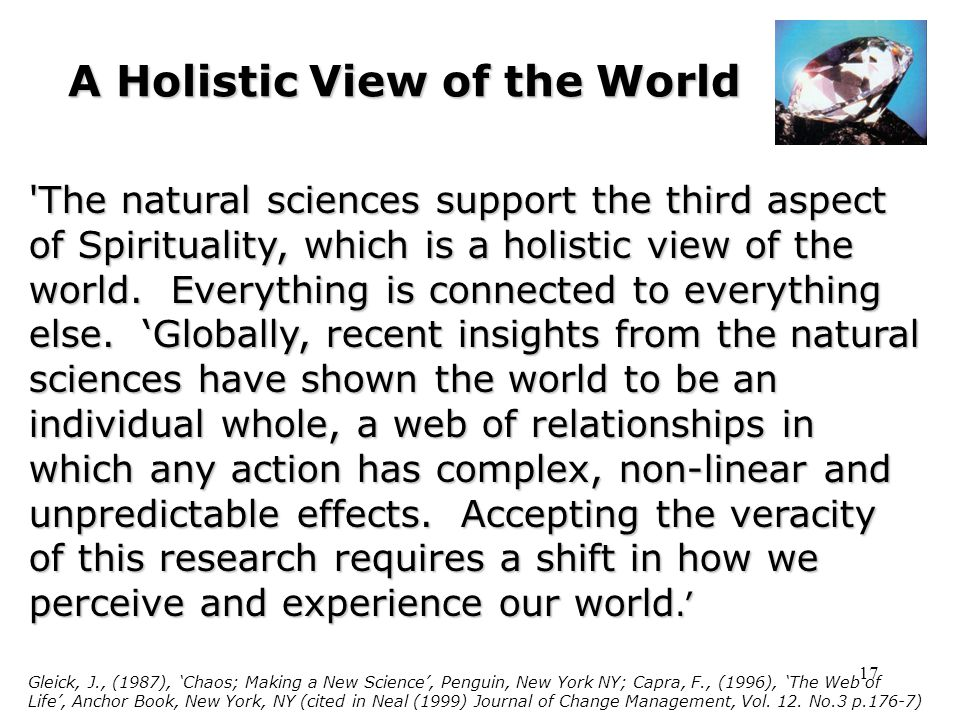 17 A Holistic View of the World The natural sciences support the third aspect of Spirituality, which is a holistic view of the world.
