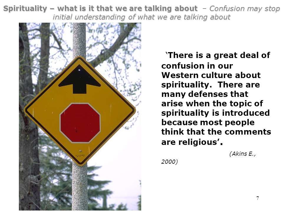 7 Spirituality – what is it that we are talking about Confusion may stop initial understanding of what we are talking about Spirituality – what is it that we are talking about – Confusion may stop initial understanding of what we are talking about ' 'There is a great deal of confusion in our Western culture about spirituality.