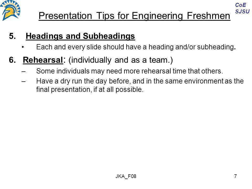 JKA_F088 Presentation Tips for Engineering Freshmen B.