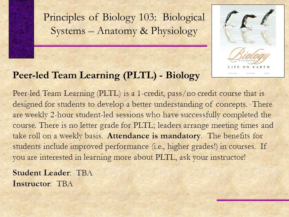 Peer-led Team Learning (PLTL) - Biology Peer-led Team Learning (PLTL) is a 1-credit, pass/no credit course that is designed for students to develop a better understanding of concepts.