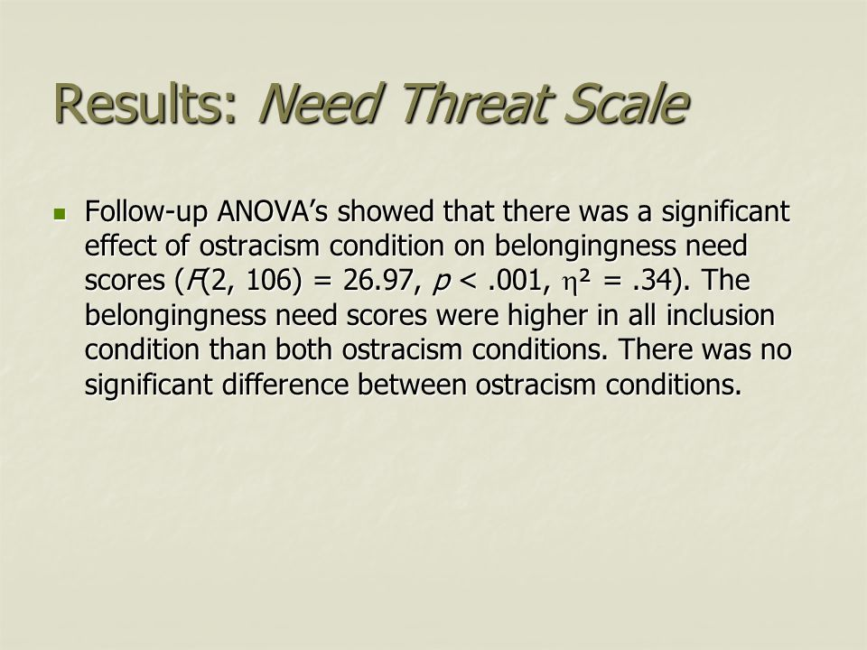 Results: Need Threat Scale Follow-up ANOVA's showed that there was a significant effect of ostracism condition on belongingness need scores (F(2, 106)