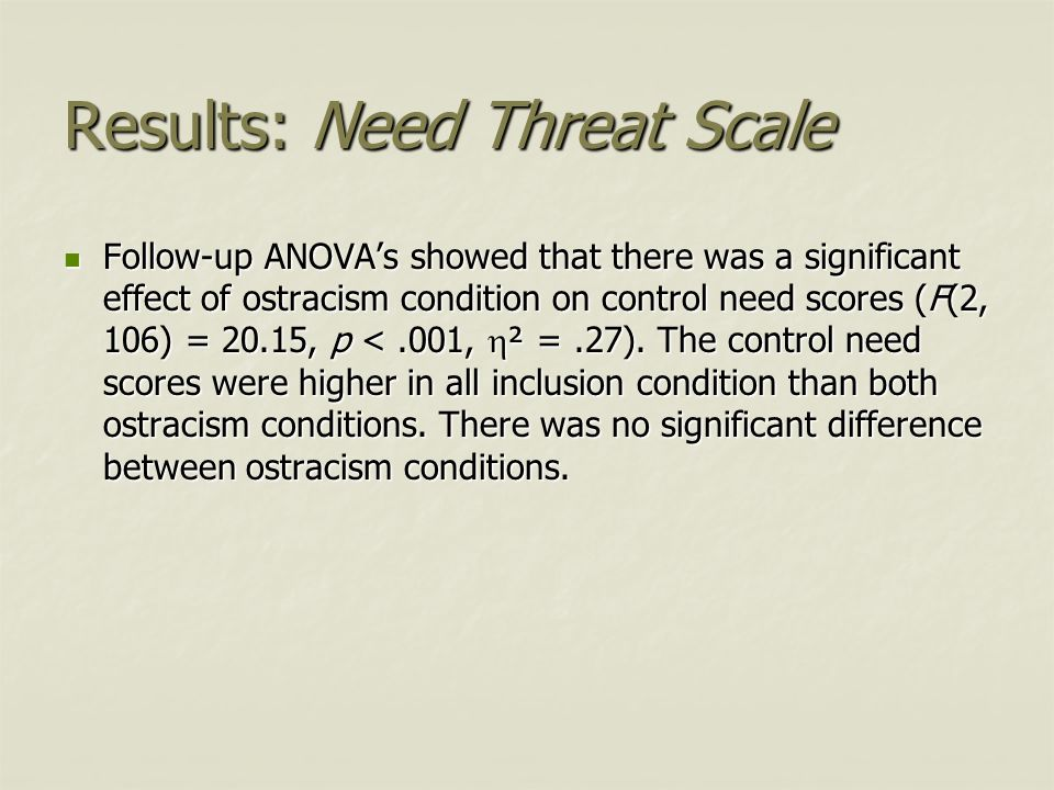 Results: Need Threat Scale Follow-up ANOVA's showed that there was a significant effect of ostracism condition on control need scores (F(2, 106) = 20.
