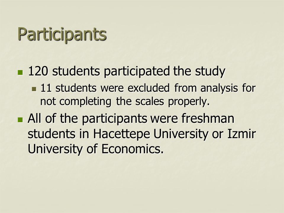 Participants 120 students participated the study 120 students participated the study 11 students were excluded from analysis for not completing the sc