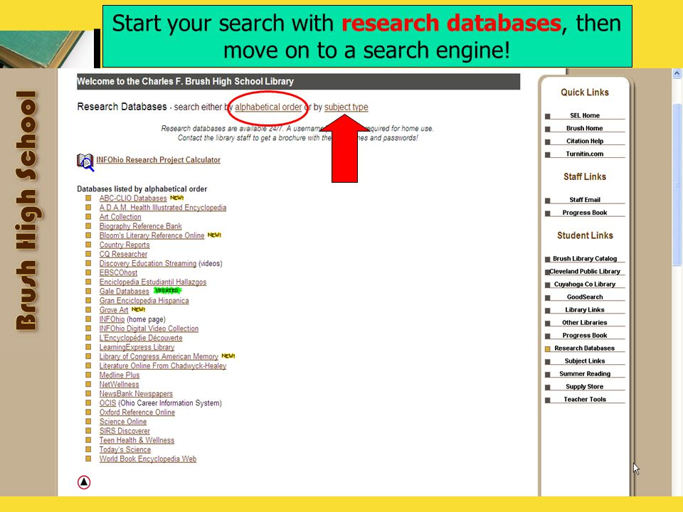 Start your search with research databases, then move on to a search engine!