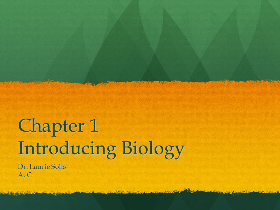 Chapter 1 Introducing Biology Dr. Laurie Solis A, C