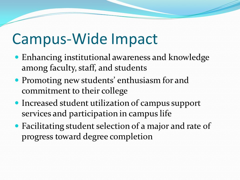 Campus-Wide Impact Enhancing institutional awareness and knowledge among faculty, staff, and students Promoting new students' enthusiasm for and commitment to their college Increased student utilization of campus support services and participation in campus life Facilitating student selection of a major and rate of progress toward degree completion