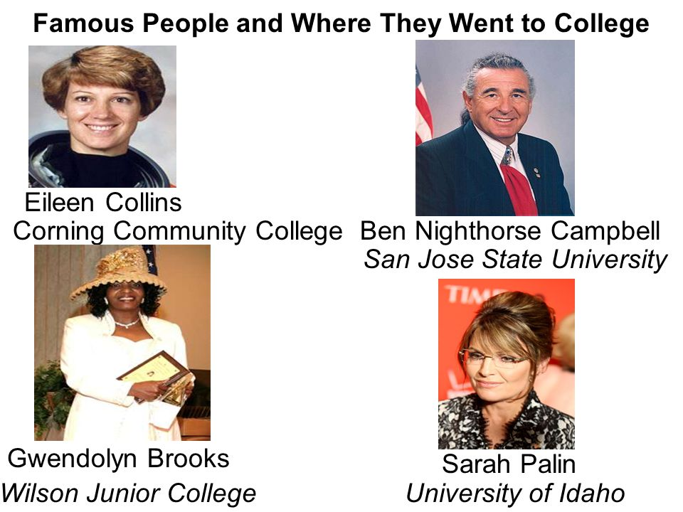 Famous People and Where They Went to College Gwendolyn Brooks Ben Nighthorse Campbell San Jose State University Wilson Junior College Sarah Palin Univ