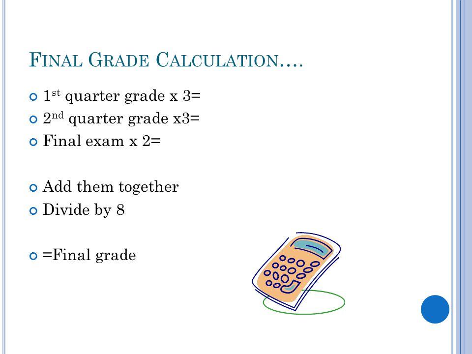 F INAL G RADE C ALCULATION …. 1 st quarter grade x 3= 2 nd quarter grade x3= Final exam x 2= Add them together Divide by 8 =Final grade