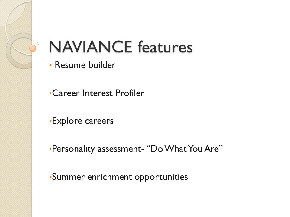 NAVIANCE for the college research and application process College search Radnor specific application statistics Register for college visits at RHS Request transcripts (9-12) Research scholarship opportunities
