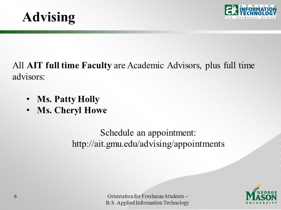 Advising 6Orientation for Freshman Students – B.S.